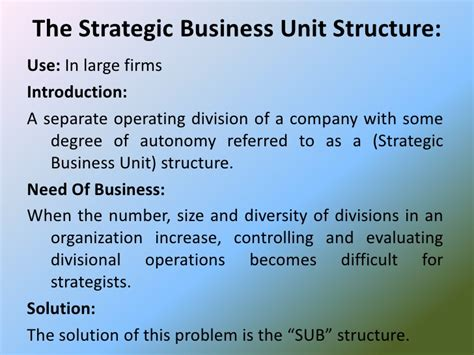 Strategic Business Unit Ppt For Mba by Chapter 7 Strategic Management