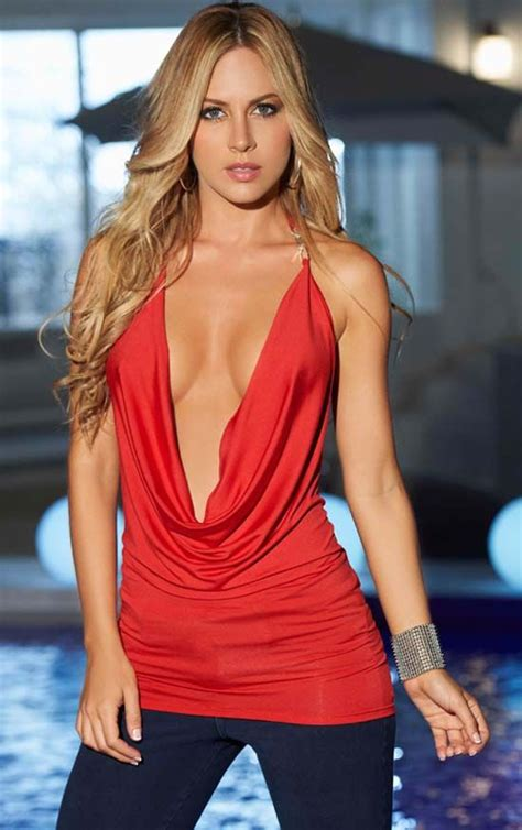 pinterest female lowcut low cut red cowl halter top with embellished strap linda