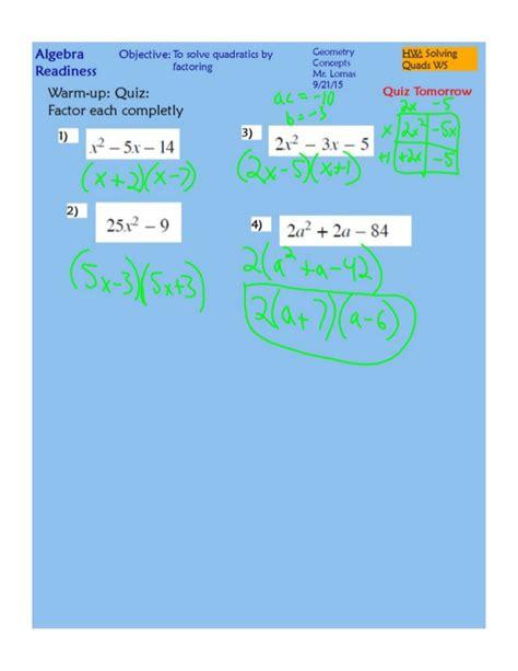 Solving Quadratics By Factoring Worksheet