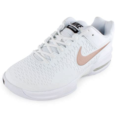 s air max cage tennis shoes white and metallic