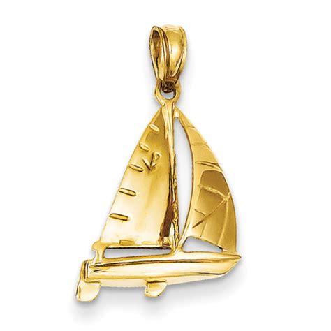 goldia 14k yellow gold sailboat pendant