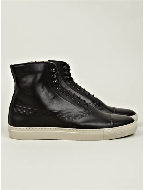mcqueen sneakers mens mcqueen vacuum detail high top sneaker in black