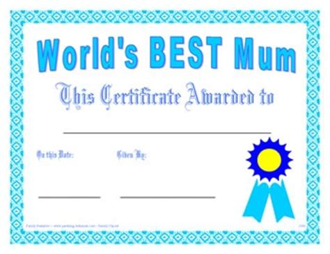 mother 39 s day gift large blank mother of the year award