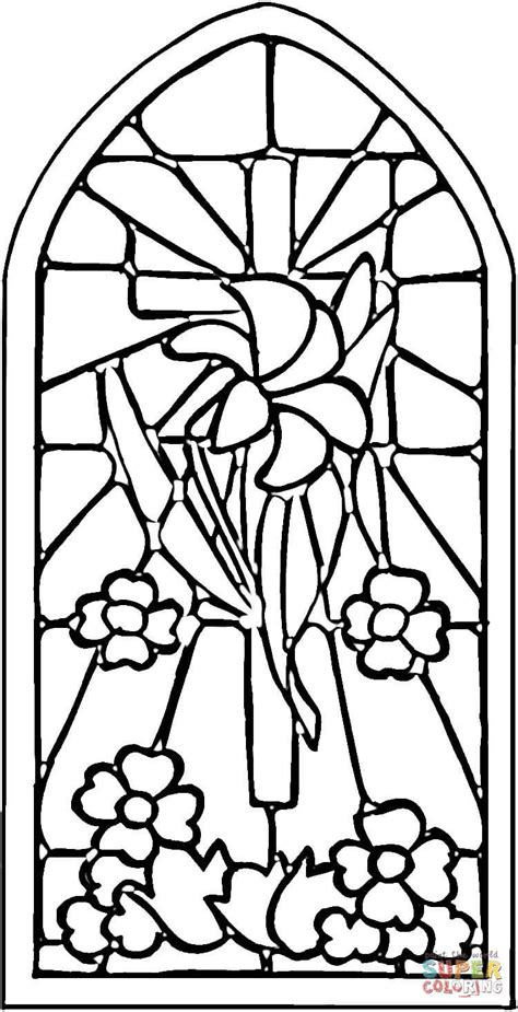 stained glass window coloring page free printable
