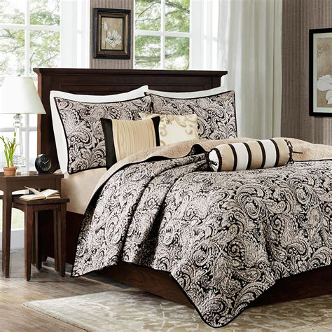 patterned coverlets madison park aubrey 6 piece quilted coverlet set ebay