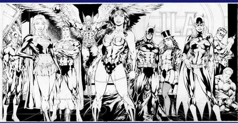 League Black White jla black and white lineart justice league of america