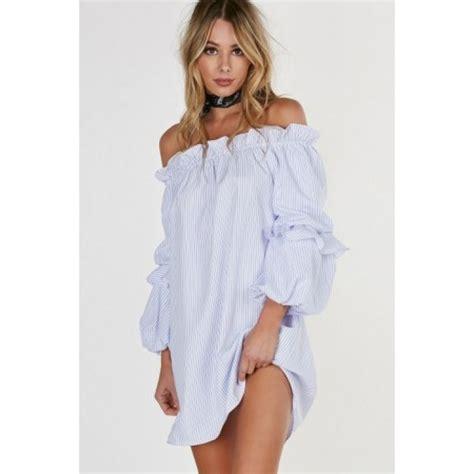 White Stripe Shoulder Dress blue white striped shoulder puff sleeve ruffled dress