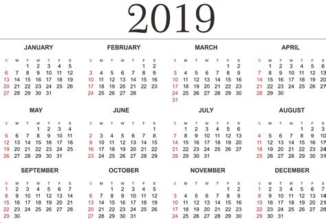 2019 Yearly Calendar Template