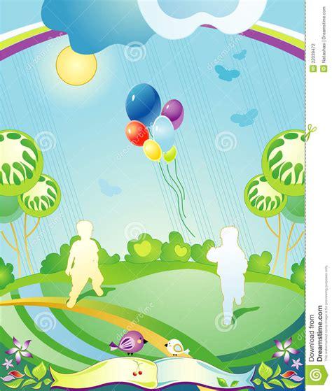 fotos de niños jugando gratis paisaje con las siluetas de ni 241 os ilustraci 243 n del vector