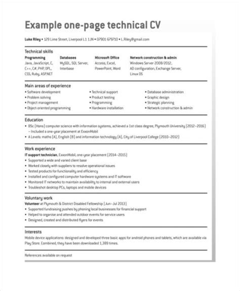 Simple Resume Sle simple one page resume sle 28 images 28 best 25 cv