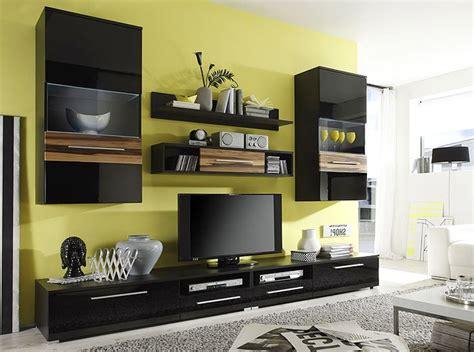 tv möbel wohnzimmer wohnwand schwarz hochglanz 280x202x47cm schrankwand