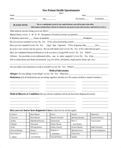 Health Questionnaire Form Bing Images Health Questionnaire Template
