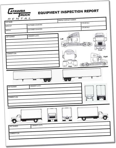 Trailer Inspection Forms Printables Trailer Inspection Report Template