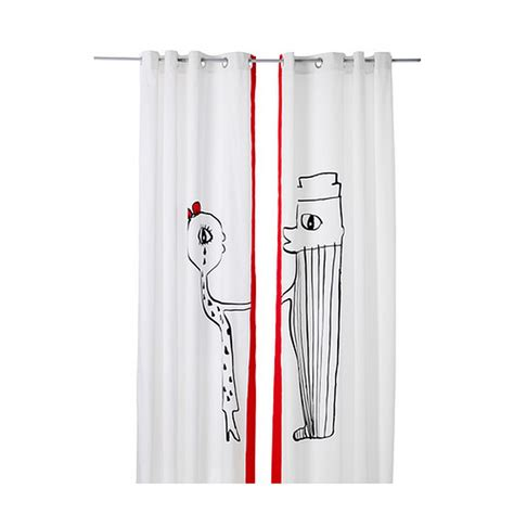 ikea grommet curtains ikea langor curtains drapes 2 panels white red black