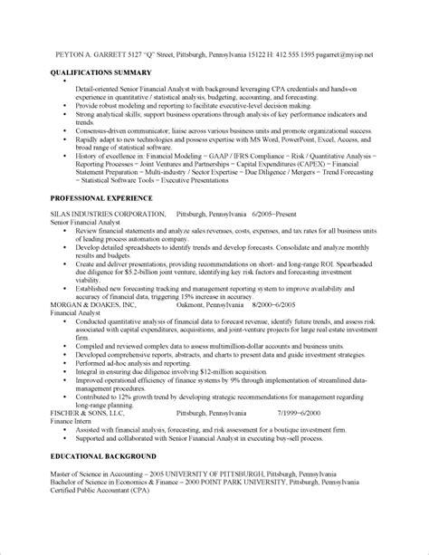 Financial Analyst Job Resume Sample   Fastweb