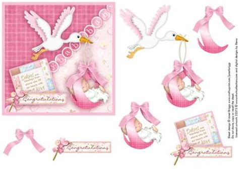 Baby Decoupage - new baby stork square card decoupage cup166250