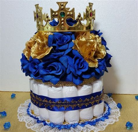 Diaper Cake Centerpiece With Crown For Royal Prince Baby Prince Themed Baby Shower Centerpieces