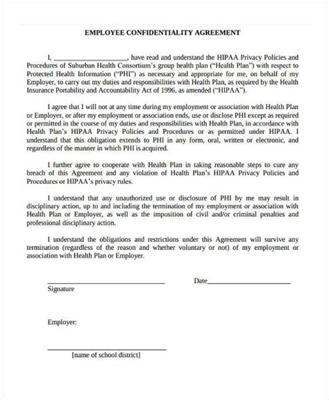 hipaa template forms 19 confidentiality agreement form free documents in