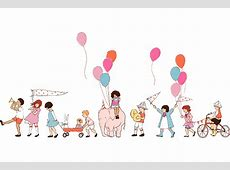 DC5140 on parade multi cream baloons kids bicyckles party ... Free Baby Related Clipart