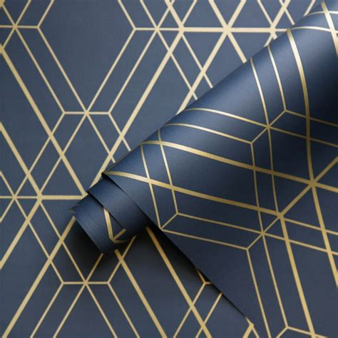 how many gold pattern are included with daas metro diamond geometric wallpaper navy blue and gold