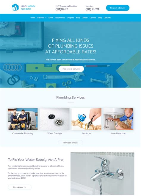 Leroy Moody Plumbing Ready Made Website T2 Template Ready Made Website Templates