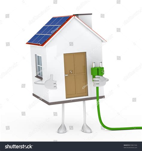 what holds up a solar house solar house figur hold a green stock photo 95861926