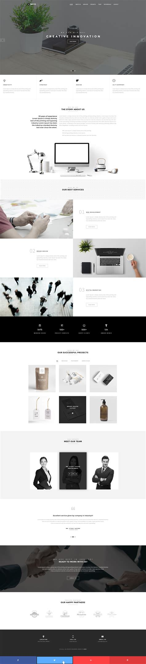 mojo template mojo minimal multipurpose one page psd template by