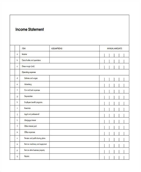 blank income statement bing images