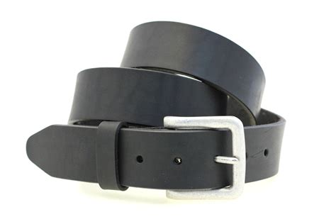 black leather belt with silver finish buckle work or