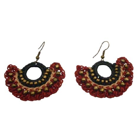 Unique Handmade Earrings - beautiful black unique handmade crocheted earrings