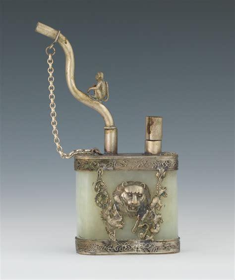 a chinese jade and metal opium smoking pipe 09 03 11
