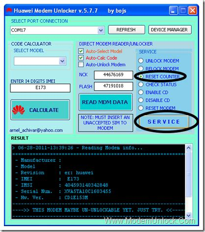 reset android modem reset unlock code counter to zero 0 10 in any huawei modem
