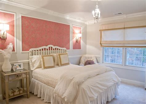 white bedroom with pink valance and curtains traditional laura ashley wallpaper ideas bedroom traditional with