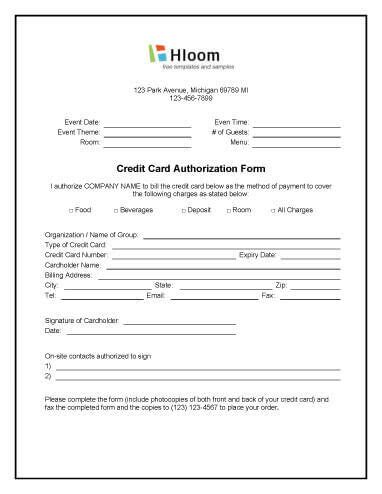 credit card authorization forms hloom com