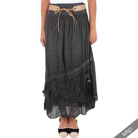 Layered Maxi Skirt womens layered tiered frilled maxi skirt a line