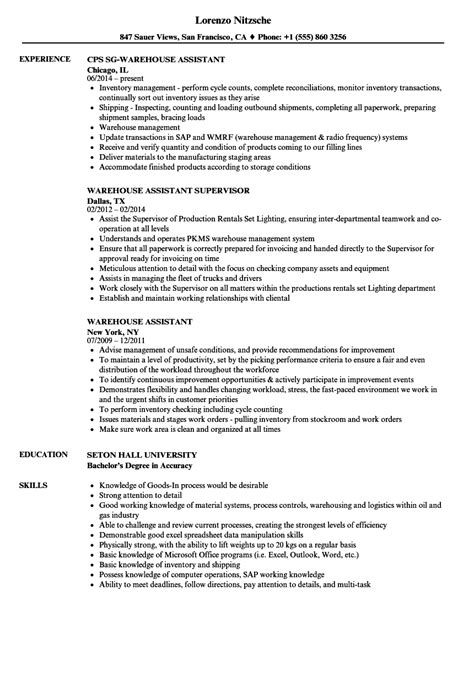 Warehouse Resume by Warehouse Assistant Resume Sles Velvet