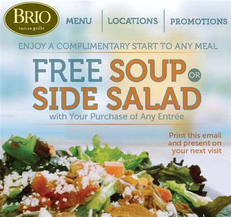 brio promo brio coupons january 2014 free soup or side salad with