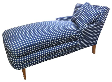 blue chaise lounge indoor blue white checked chaise w pillow contemporary