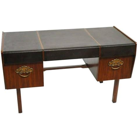 leather top walnut and bronze desk by bert for