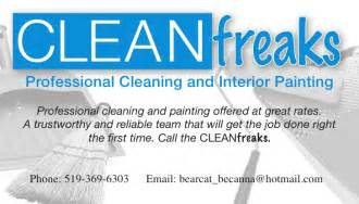 exles of business cards for cleaning services cleanfreaks business card