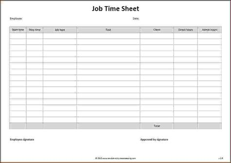 4 time sheets timeline template