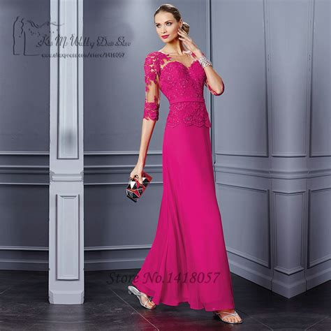 by color cheap prom dresses 2016 mother of bride gown fuschia women couture long evening gowns lace 2016 half