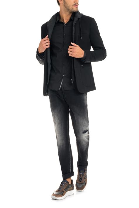 Salsa Blazer salsa blazer en molleton 224 capuche tricot noir homme mode v 234 tements duffle coats