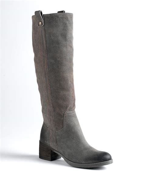 gray suede boots bcbgeneration hans split suede knee high boots in gray