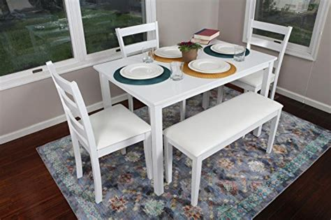 4 Person Kitchen Table 4 Person 5 Kitchen Dining Table Set 1 Table 3 Leather Chairs 1 Bench White