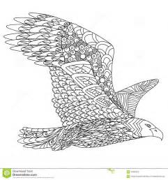 Zentangle Stylized Flying Eagle Hand Drawn Doodle Vector Illustration  sketch template