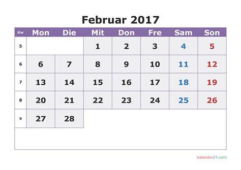 Kalender 2017 Februar Kalender Februar 2017 Zum Ausdrucken Pdf Word Excel