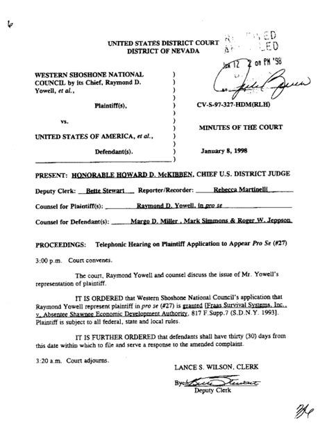 This Is An Order From The Court To Send Up The Records On A For Review Shoshone Pro Se Memorandum