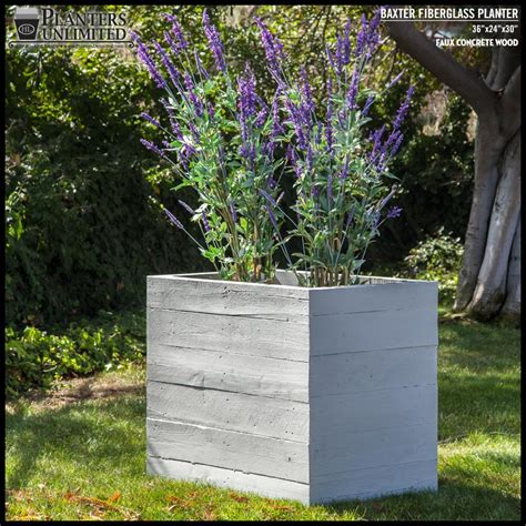 Baxter Fiberglass Rectangular Planter Faux Board Formed Faux Concrete Planters