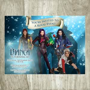 disney descendants birthday party invitations and